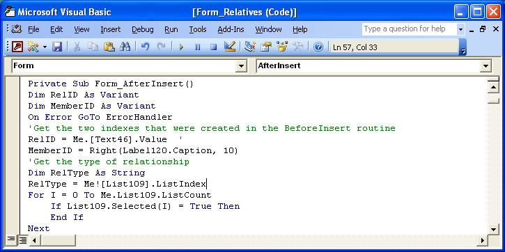AccessScreenshot2 Visual Basic Forms With Add Change Delete Ons Examples on